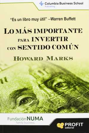 portada del libro lo más importante para invertir con sentido común